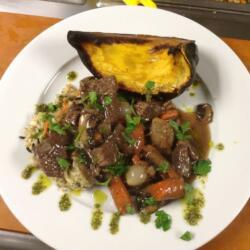 Beef Stew w/ Pesto & Acorn Squash