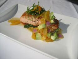 Salmon with Citrus, Mango Salsa