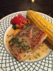 Pan Seared Snapper with Summer Tomatoes and Sweet Corn, Chive Butter Sauce