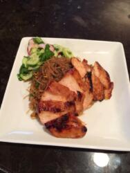 Roasted Chicken with Asian Glass Noodles and Cucumber Salad