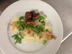 Shrimp Brochette w/ Lemon Buerre Blanc & Balsamic Mushrooms